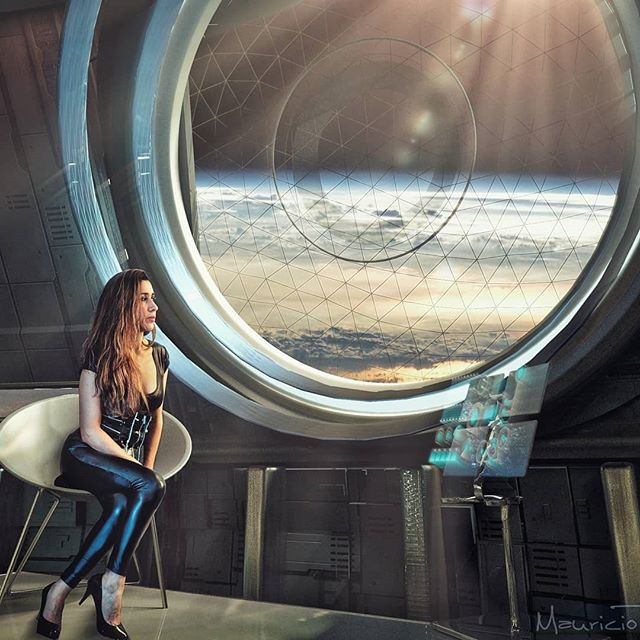 Window to the space. #vfxcompositing #scifi #spacestation #orbit #model #lookingtothesky #vfxartist #leggings #highheels #scifiartwork #compositephotography #vrayrender #window #space #conceptart #photoshopped