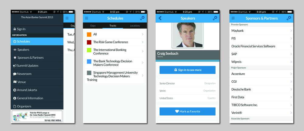 Interface and experience design for The Asian Banker Summit App