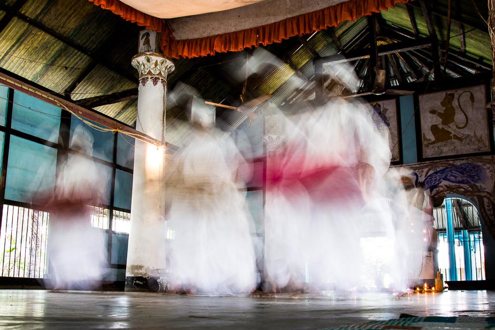 The dancing and drumming monks at Kamalabari Sattra, Majuli Island, Assam