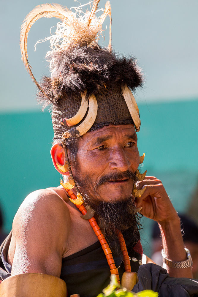 Chang tribesman about to perform at the Hornbill Festival, Kohima, Nagaland
