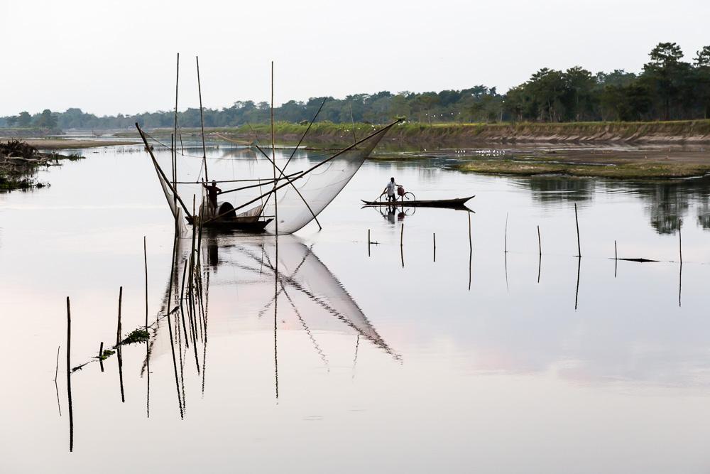 Fishing net on Majuli Island, in the Brahmaputra River, Assam