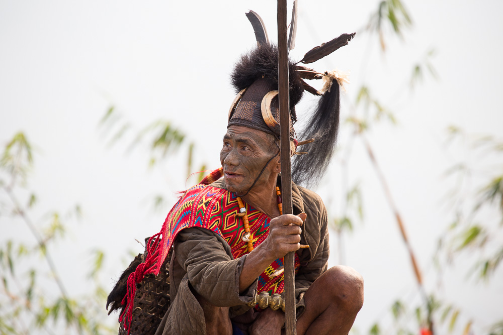 One of the last remaining headhunters from the Konyak tribe, Nagaland