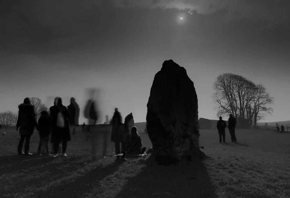 Partial solar eclipse, Avebury, March 2015