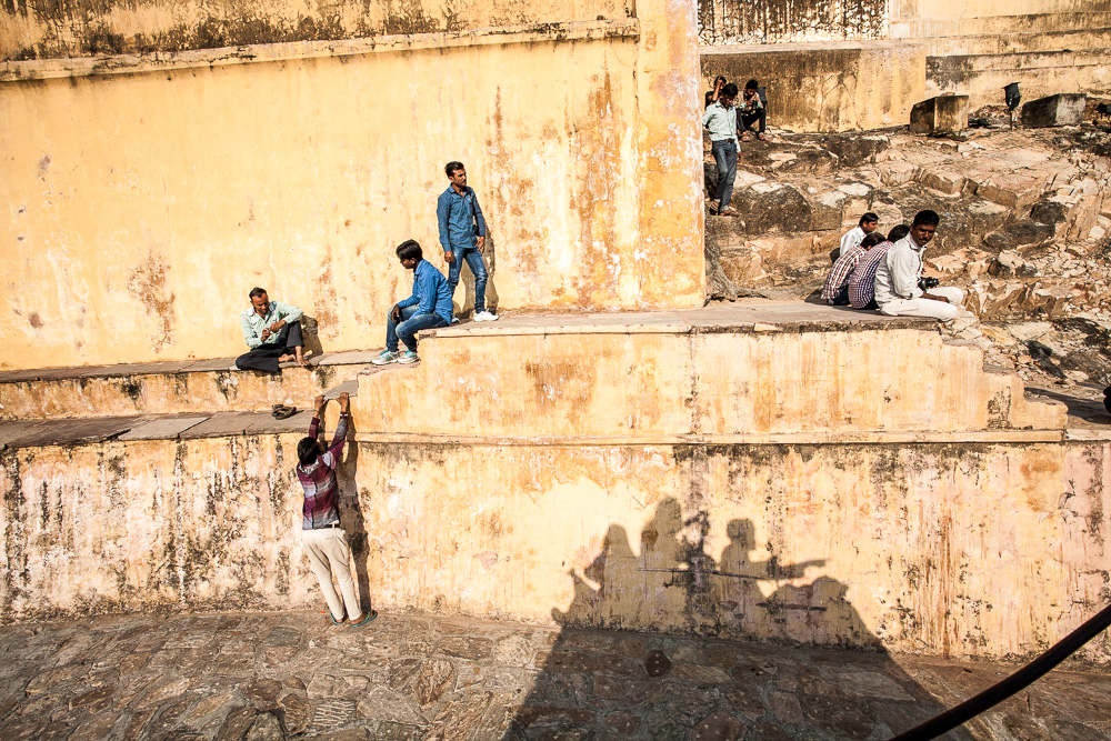 Riding on elephant back to the Amber Fort, Jaipur, Rajasthan