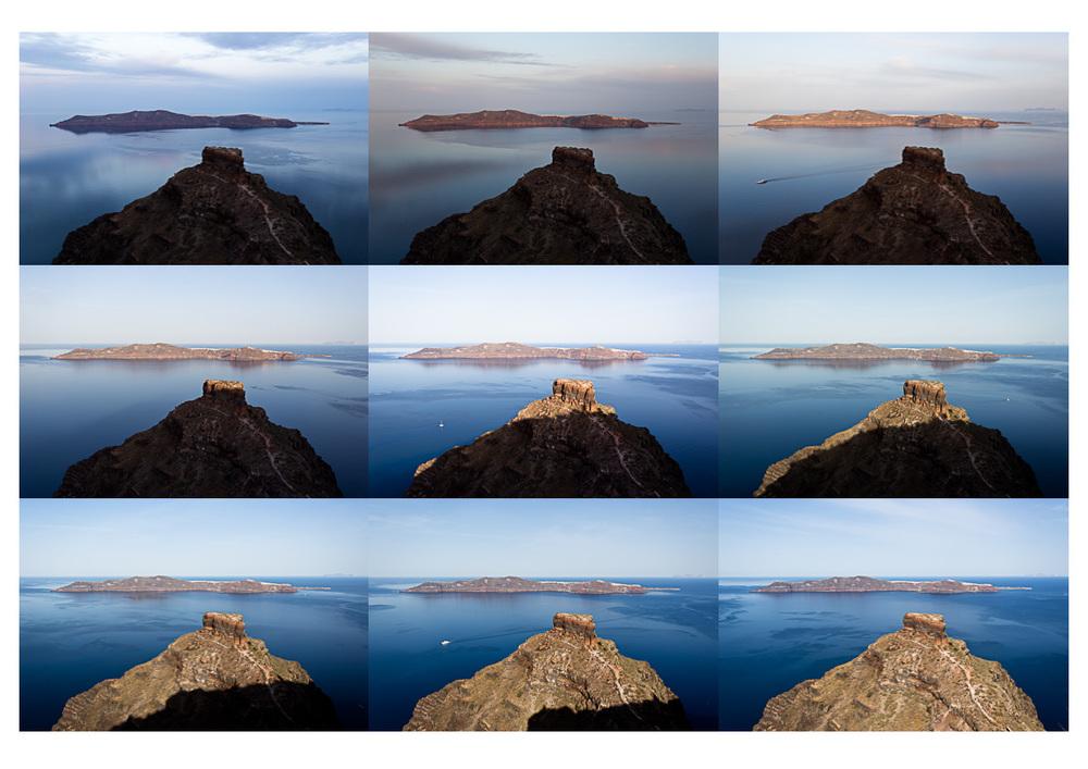Sunrise over Skaros rock
