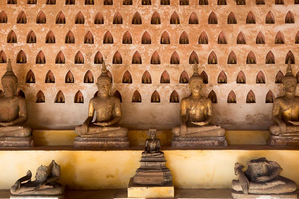 Buddhas in the Wat Si Saket temple, Vientiane, Laos