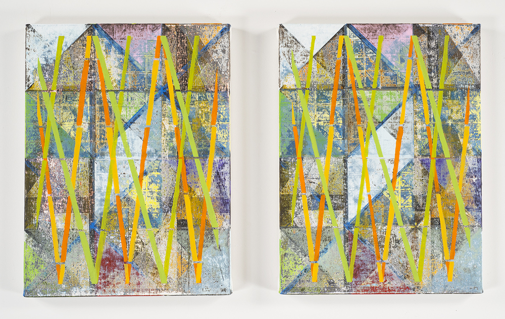 Bamboo Zulu  (diptych), 2014-15 Acrylic on canvas over panels 16 x 12 inches each
