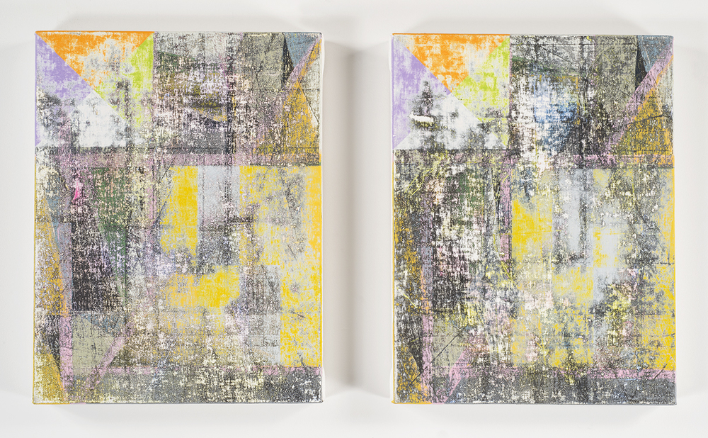 Broken Signal Repair  (diptych), 2014-15 Acrylic  on canvas over panels 16 x 12 inches each