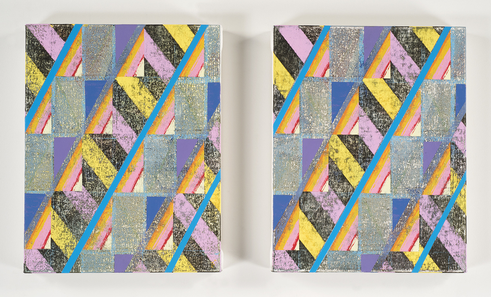 Ignore All Warning Signs  (diptych), 2014-15 Acrylic on canvas over panels 14 x 11 inches each
