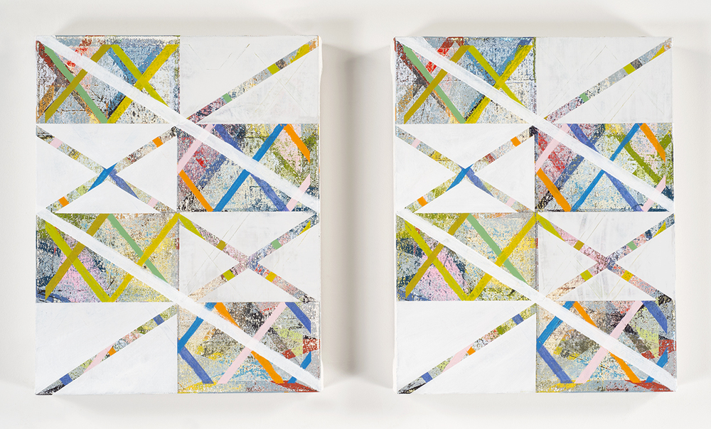 Opening Ceremony  (diptych), 2014-15 Acrylic on canvas over panels 14 x 11 inches each