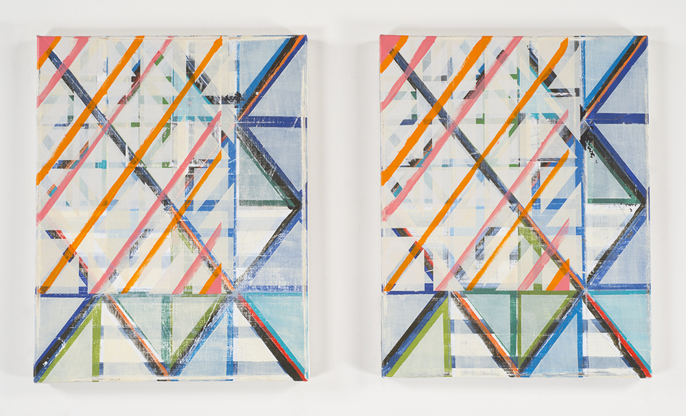 XY XY  (diptych), 2014-15 Acrylic on linen 14 x 11 inches each