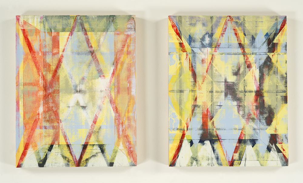 You x Me = Infinity  (diptych), 2014-15 Acrylic on birch panels 14 x 11 inches each