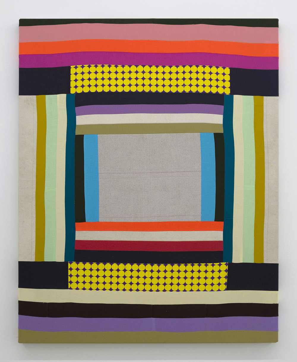 Casino Karaoke,   2018 Pieced and sewn cotton and canvas, colored pencil 45 x 36 inches (114.3 x 91.4 cm)