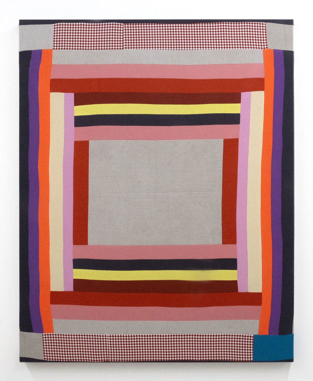 Fever Stitch,   2018 Pieced and sewn cotton and canvas, colored pencil and acrylic 45 x 36 inches (114.3 x 91.4 cm)