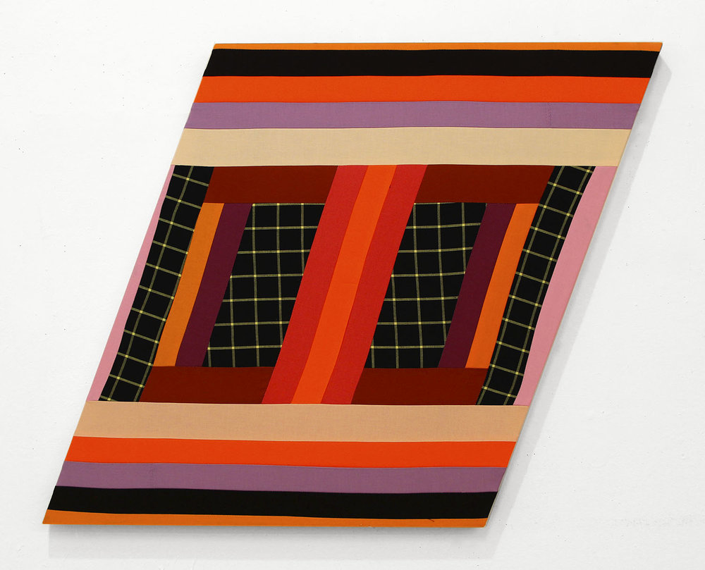 Happy Together   ,  2018 Pieced and sewn cotton on shaped support 25 x 32 inches overall (63.5 x 81.3 cm overall) The Capital One Art Collection