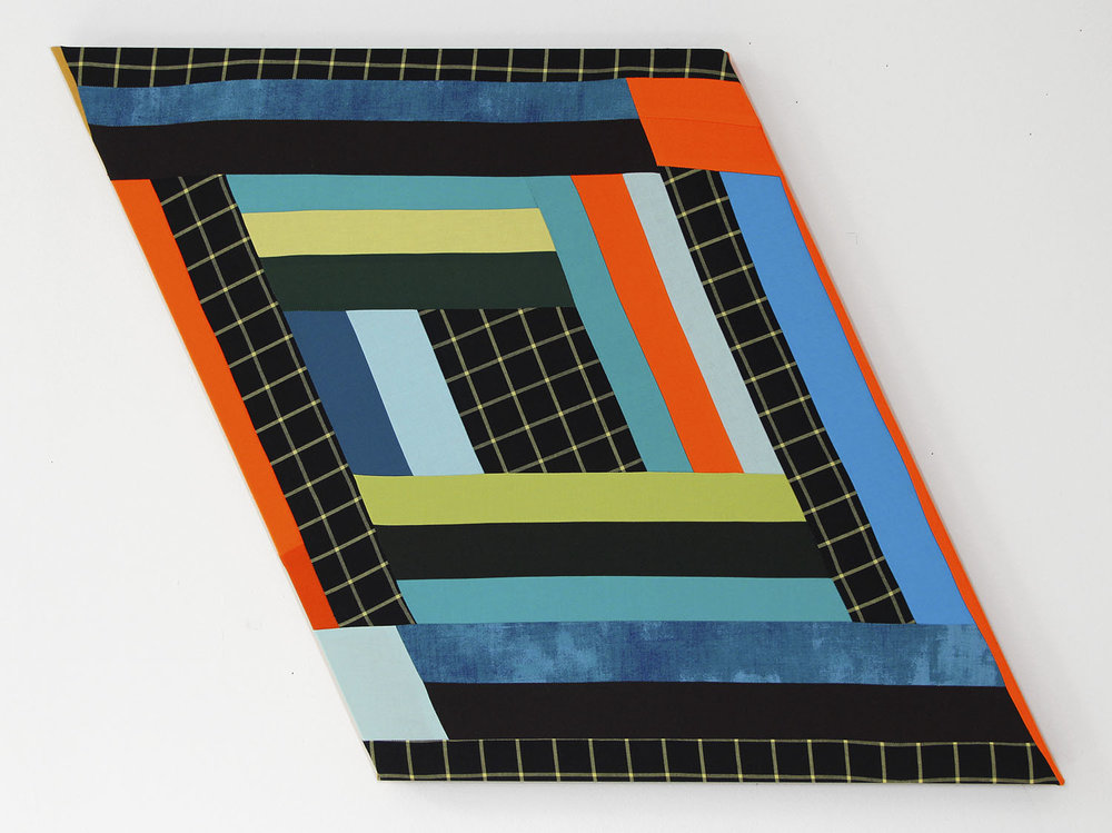 Infinity Blues,   2018 Pieced and sewn cotton on shaped support 25 x 32 inches (63.5 x 81.3 cm)