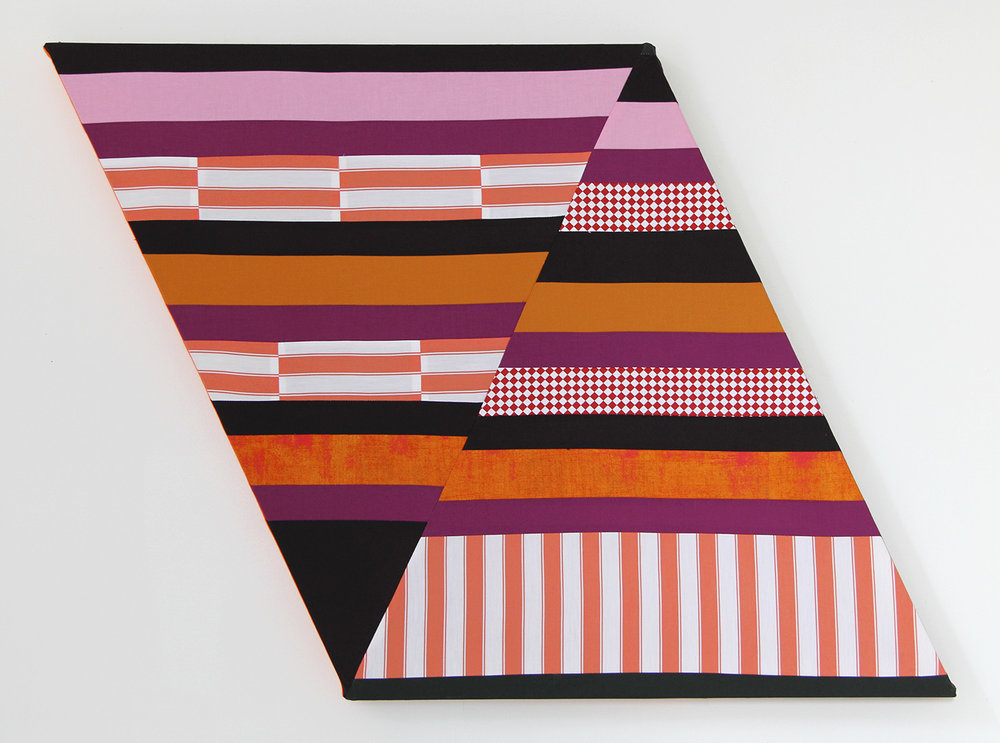 Whip It,   2018 Pieced and sewn cotton on shaped support 25 x 32 inches (63.5 x 81.3 cm)