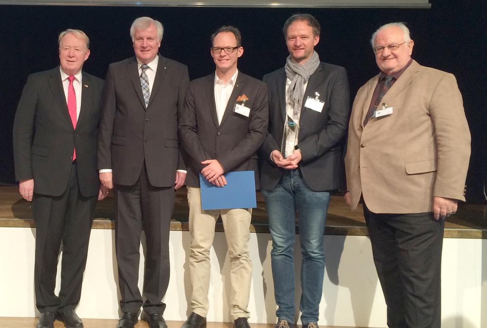 v. l. n. r.: Dr. h.c. Hans Michelbach, MdB, Ministerpräsident Horst Seehofer, Andreas Fi-ckenscher, Florian Fickenscher und Reinhard Giegold, Vorsitzender der Mittelstands-Union KV Hof