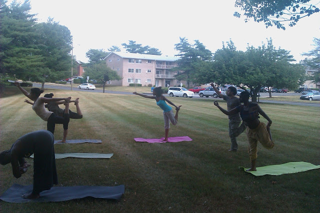 OF COURSE we started off with Yoga in the sun! No eating at least 2 hours before yoga :)
