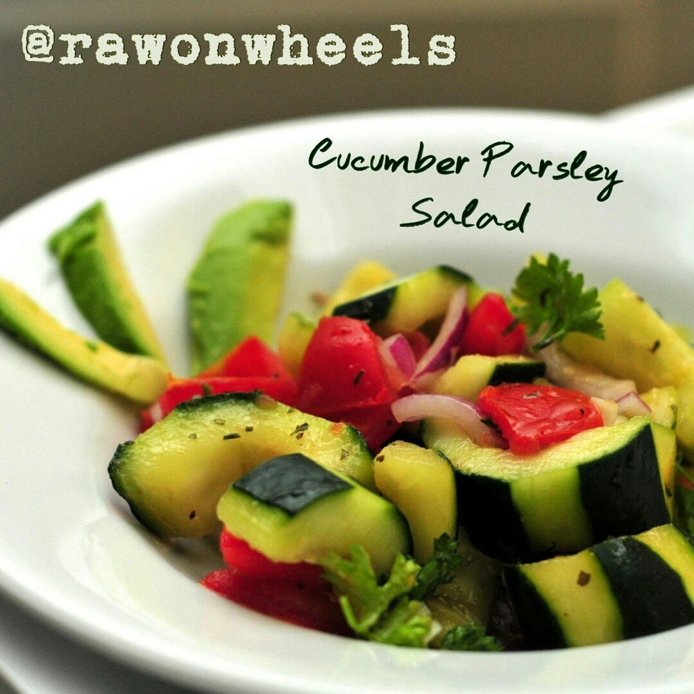RAW! cucumber parsley salad no leafy greens