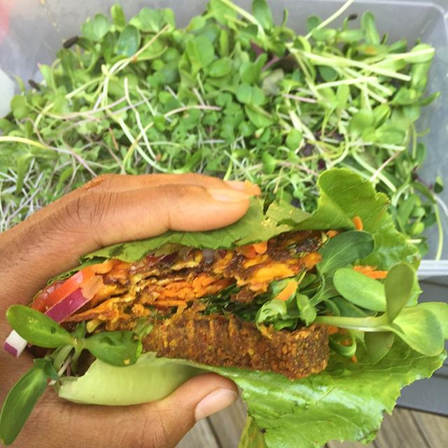 The RAW! Caribbean Burger has officially been upgraded. We know... We know... You're asking how can something so damn good get better? Well, we've added locally harvested sunflower sprouts from @gritandglamfarm. #completeplantprotein #UrbanVeganRealness #gritandglamfarm #carolinecountyva #realpeoplerawfoods