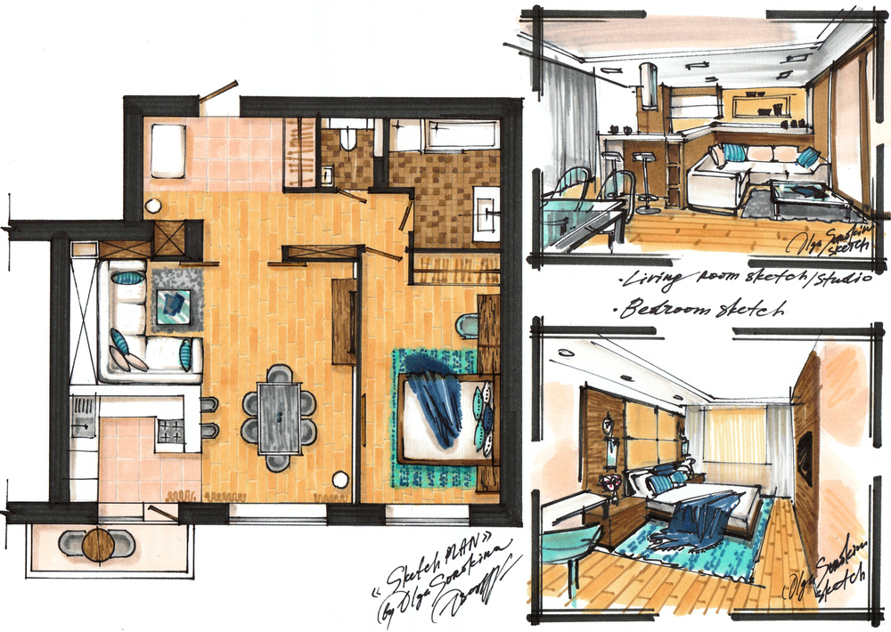 Project of the apartment 70m2. Sketch-plan and 2 perspectives.