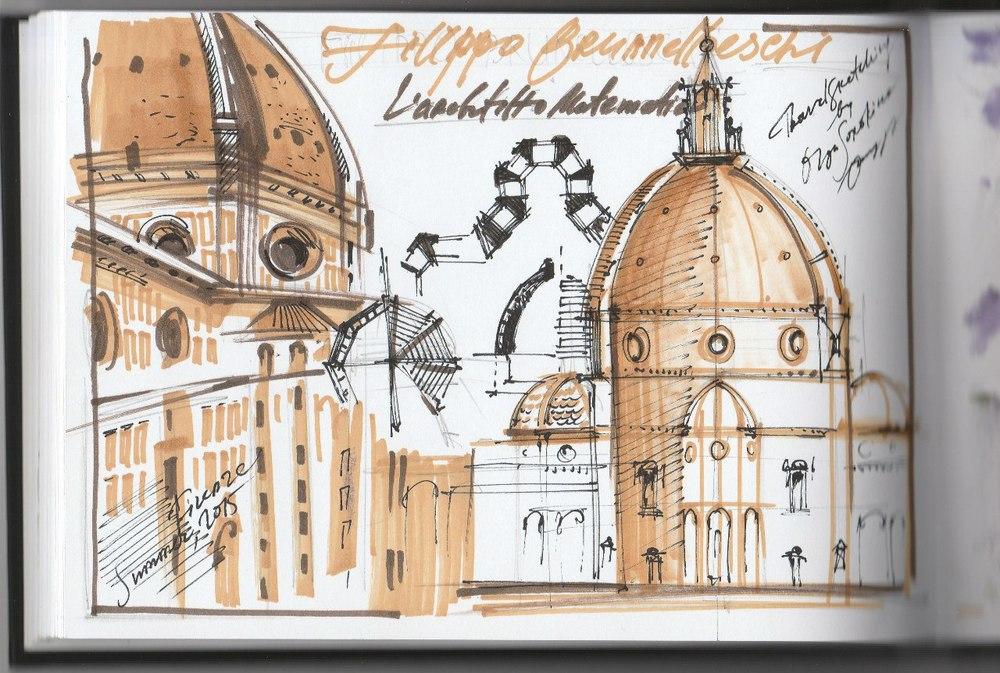 Скетч маркерами Санта Мария дель Фиоре