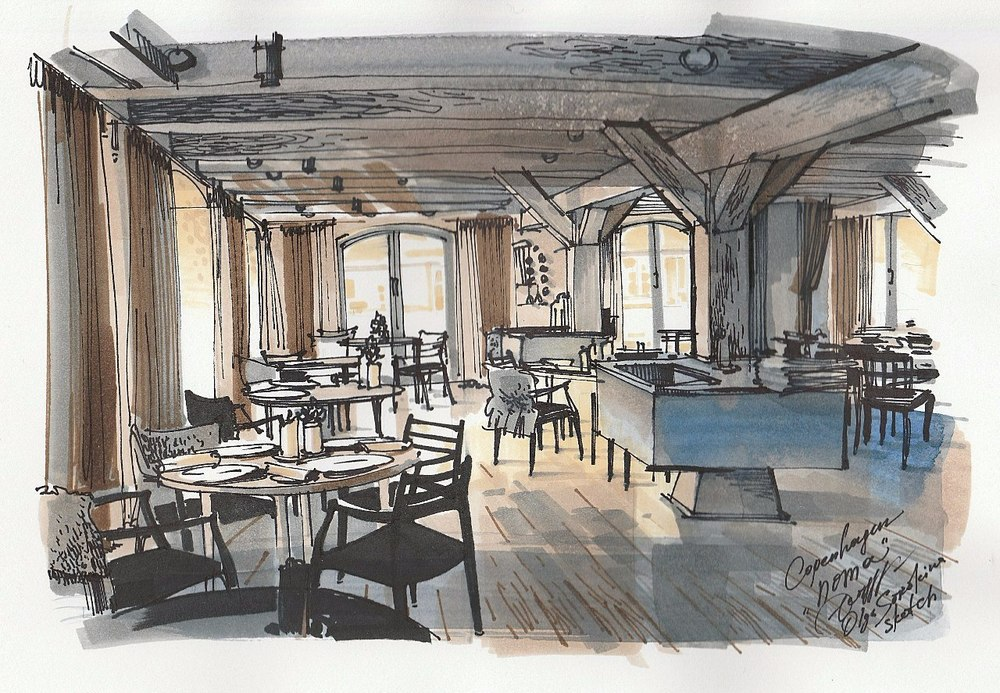 Noma restaurant, Copenhagen (watercolour and markers)