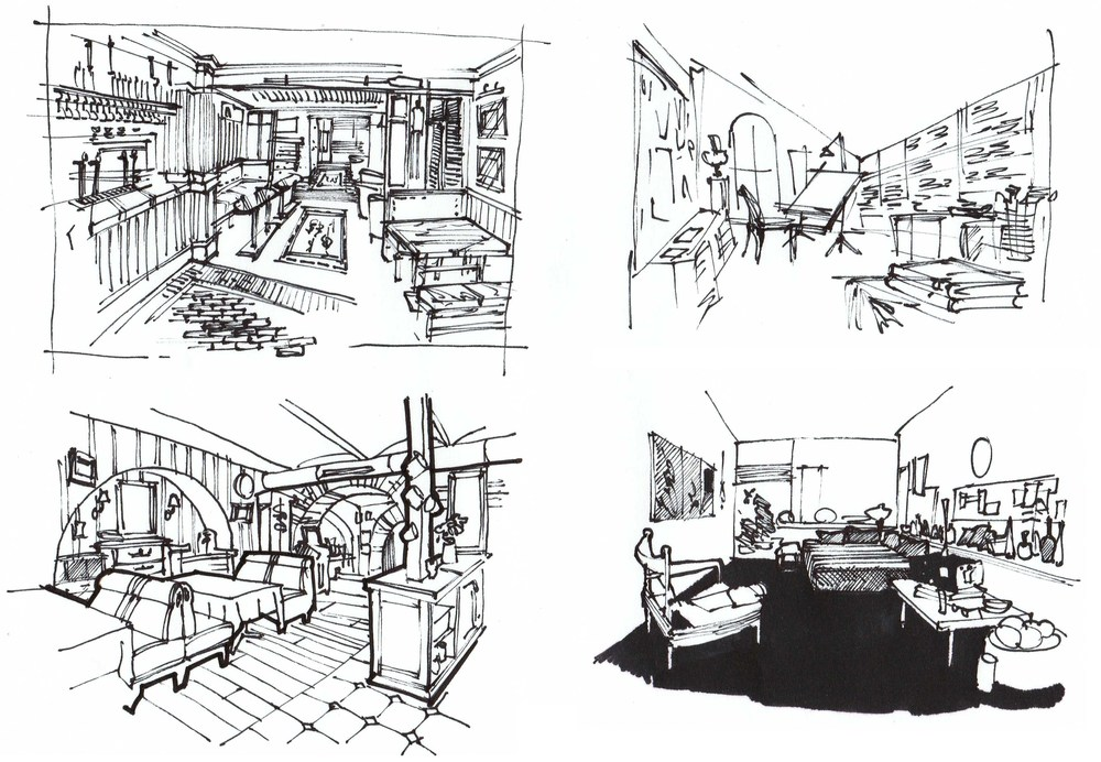 Interior sketching drawing master