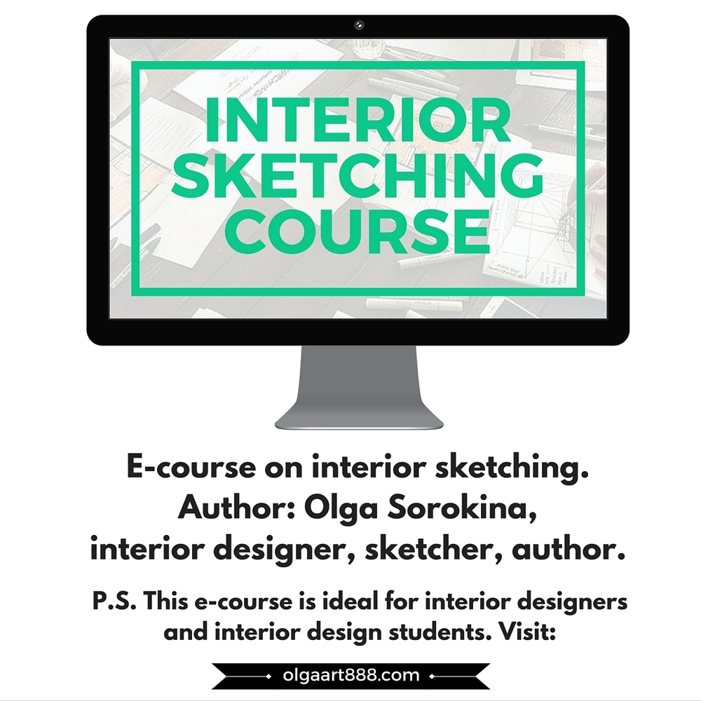 E Course On Hand Rendering With Markers Basic Level For Interior Designers By Olga Sorokina
