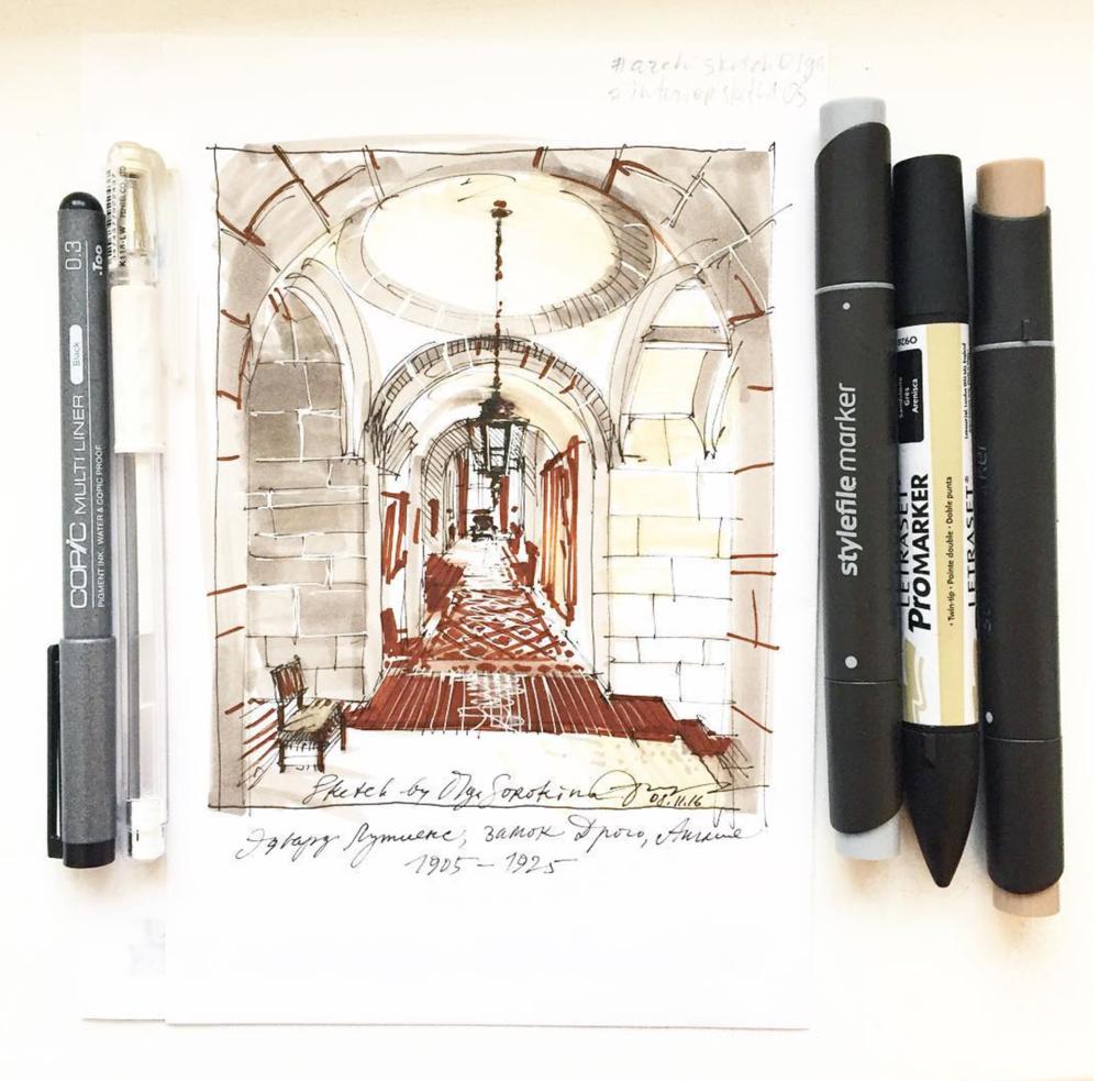 """Мой рисунок из книги Дж. Пайла """"Дизайн интерьеров: 6000 лет истории"""""""