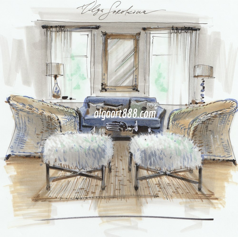 Interior sketching with markers my video courses book Interior design for beginners