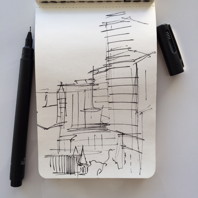 городской скетч маркерами