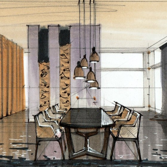 interior marker drawing