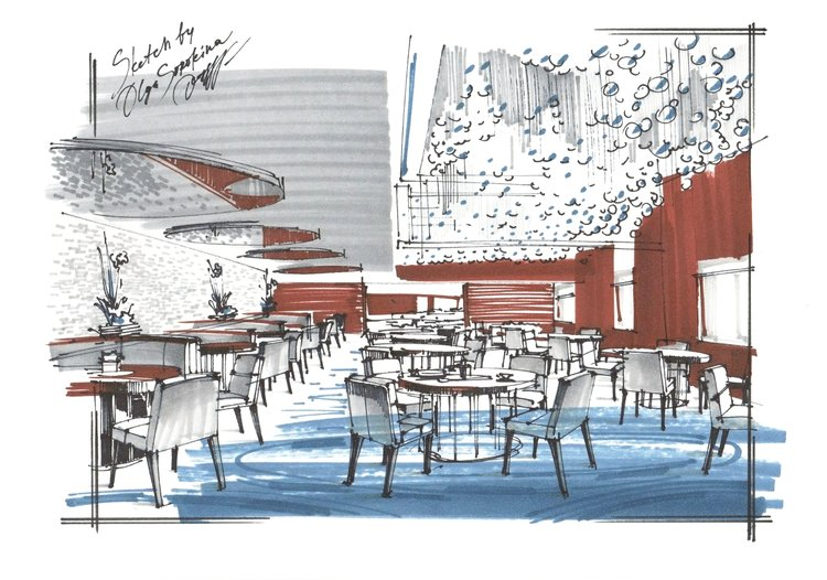 interior sketch restaurant
