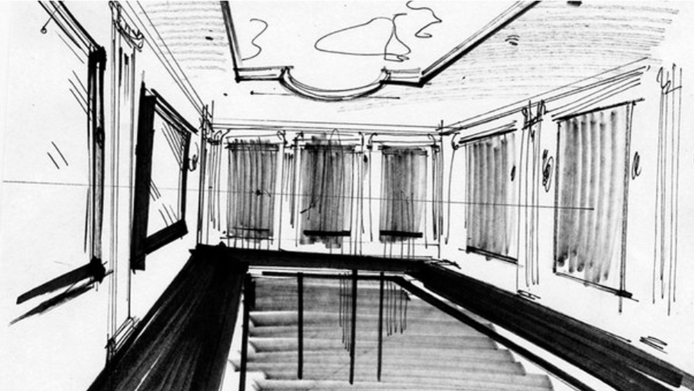 1 point perspective interior sketch