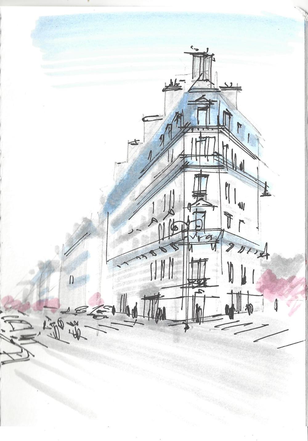 Мой скетч карандашом, маркерами (голубой , розовыйи серый) и линером в скетчбуке А6