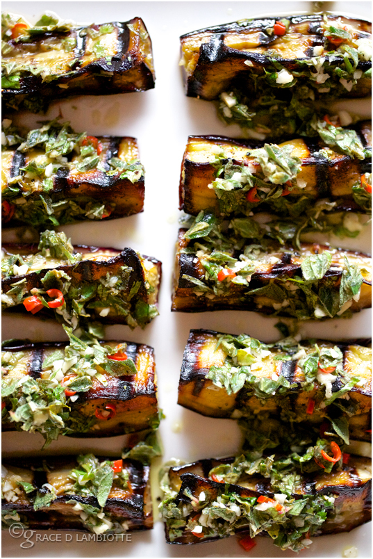 Marinated Aubergine with Tahini and Oregano
