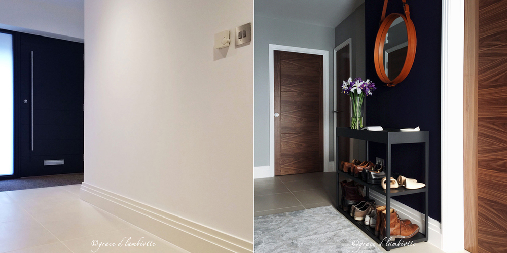 LEFT: Entrance Hallway 'Before' with view of the front door. RIGHT: Entrance Hallway 'In Progress' with view from the front door. Adnet Circulaire Mirror; Sideboard New Order by Hay; Walnut Doors by JBKind Doors.