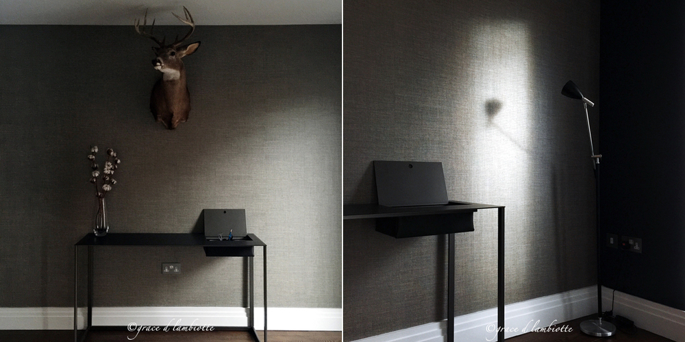 Calalmo Desk by Gabriele Rosa for Zanotta; Paint Colour: Lamp Black by Little Greene Paint Co.