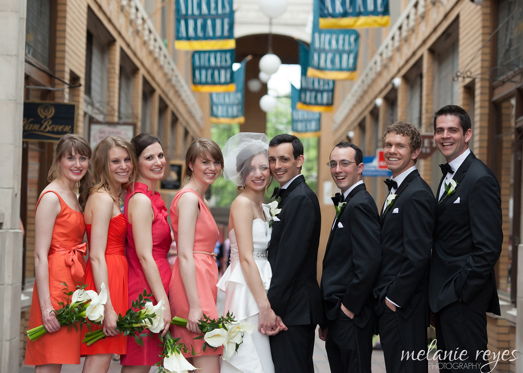 Bridal Party in Nichols Arcade