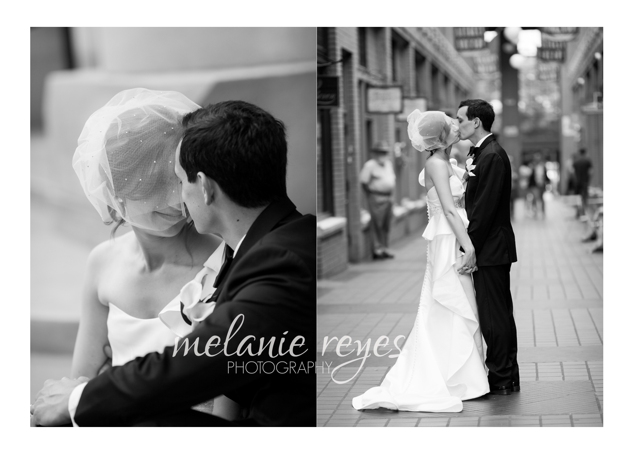bride and groom black and white photography