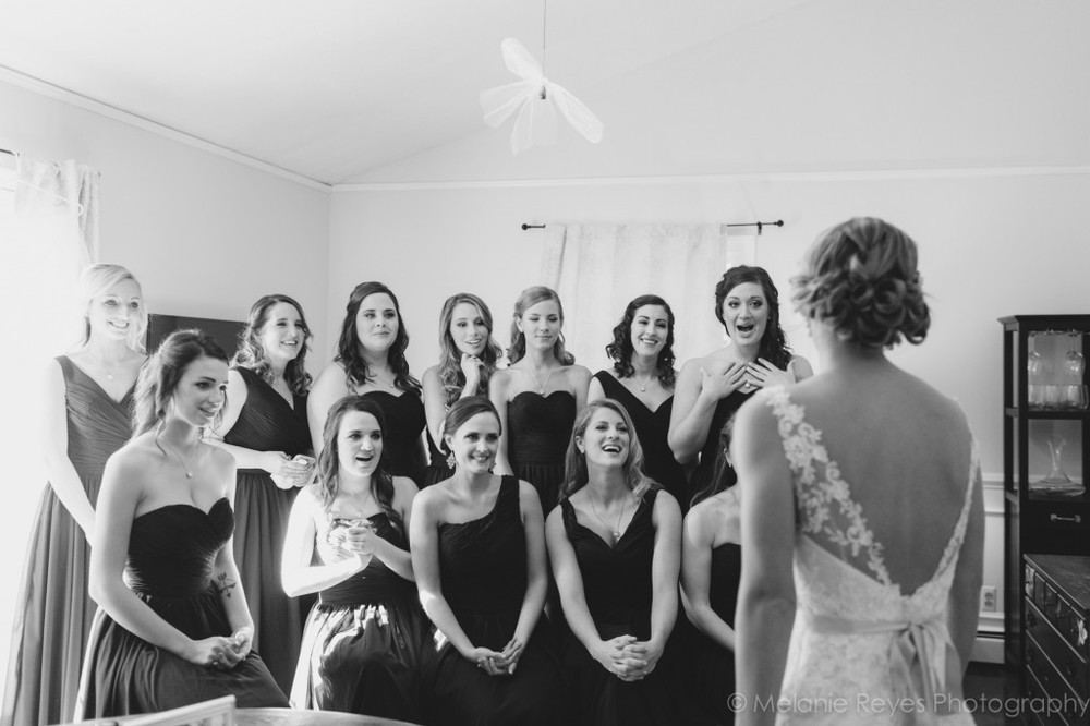 Bridesmaids reaction to bride