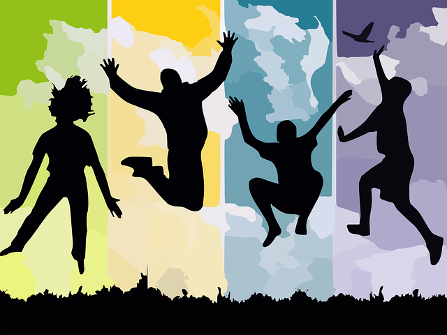 Graphic of silhouettes jumping