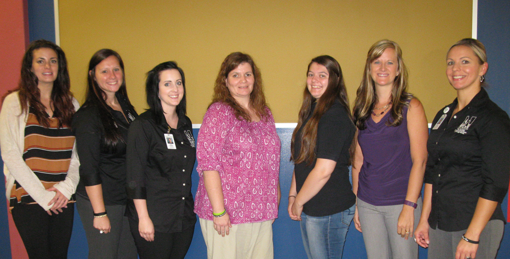 Ridgway Area School District event. Pictured (left to right) are Erica Hodgdon (ADAS), Rachelle Kastner (DCI), Sierra Gilmore (DCI), Jennifer Wheaton (mother of Brittany), Brittany Standeven, Lisa Cherry (ADAS), and Tana Funair (DCI