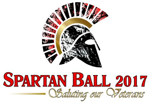 "Logo with Spartan helmet graphic.  ""Spartan Ball 2017: Saluting our Veterans"