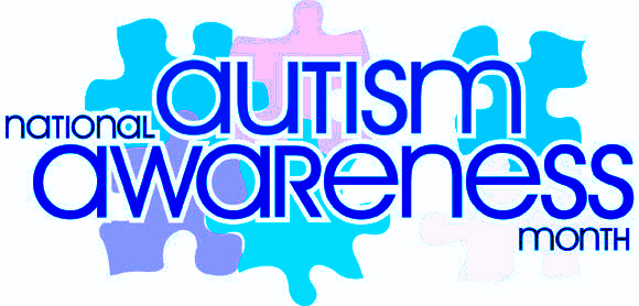 National Autism Awareness Month graphic with puzzle pieces