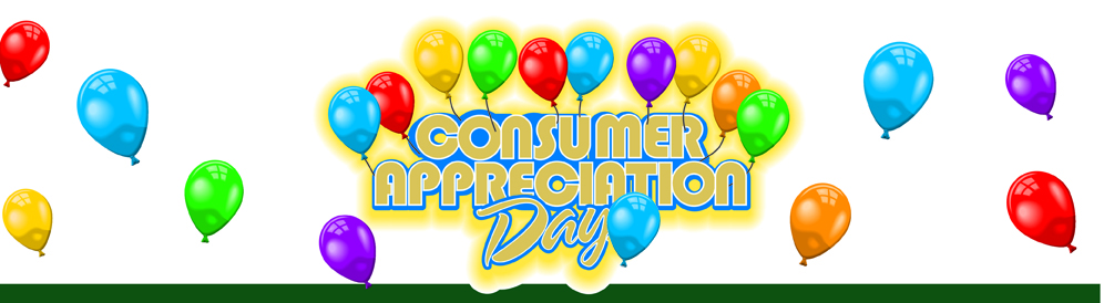 Consumer Appreciation Day text and balloons