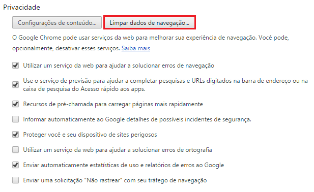 Limpando o Cache - Google Chrome