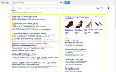 Exemplosde anúncios do Google Adwords na primeira página do Google.